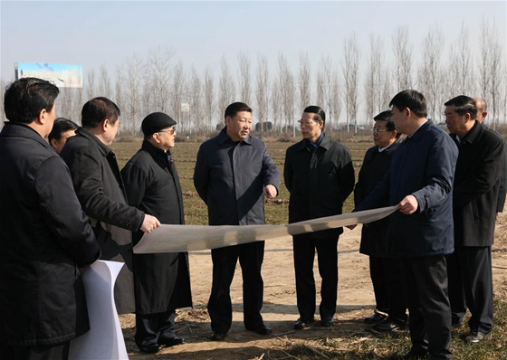 Chinese President Xi Jinping(C) inspects the Xiongan New Area scheme in Anxin County of Baoding City, north China's Hebei Province, Feb 23, 2017. [Photo/Xinhua]