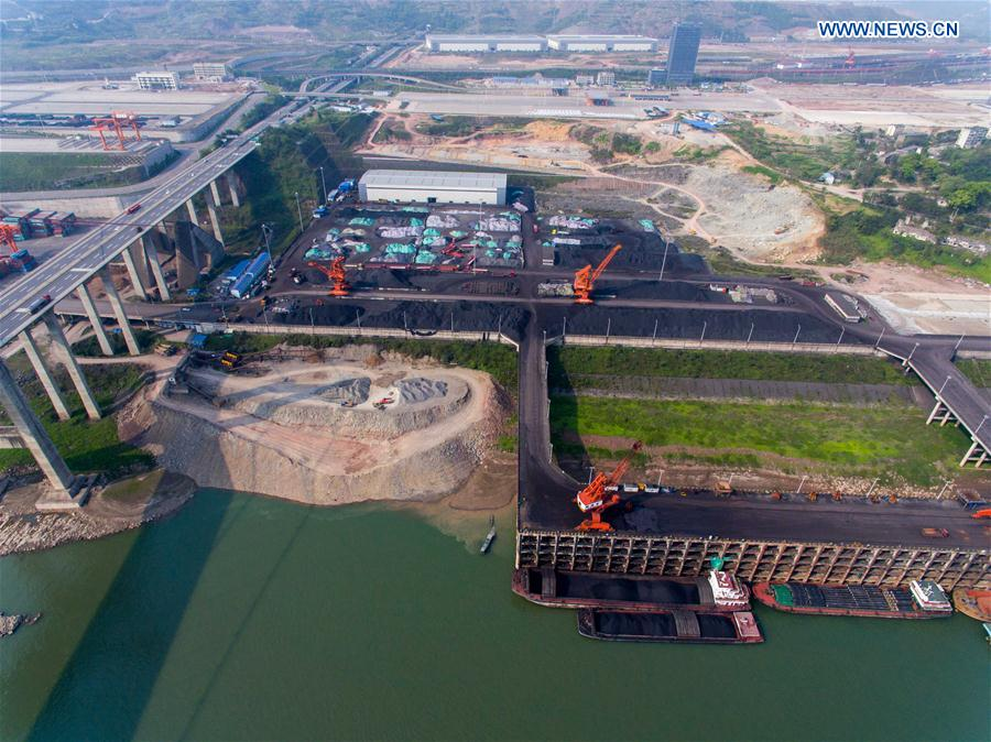 Aerial photo of Guoyuan port, connected to railway in Chongqing
