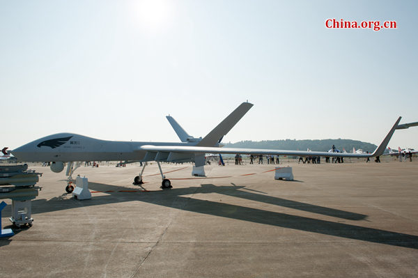A Wing-Loong II, the new reconnaissance and strike multi-role endurance Unmanned Aircraft System (UAS), is on static display at the 2016 China Int'l Airshow in Zhuhai on Nov. 2, 2016. [File photo by Chen Boyuan / China.org.cn]