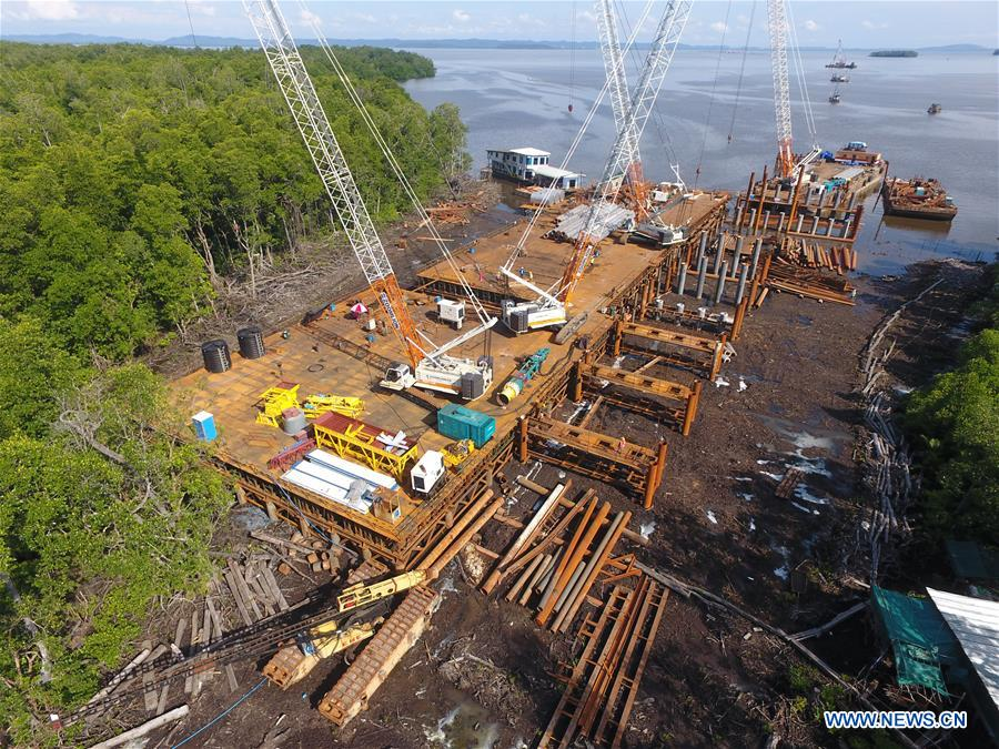 Construction area of China's Temburong Bridge project in Brunei