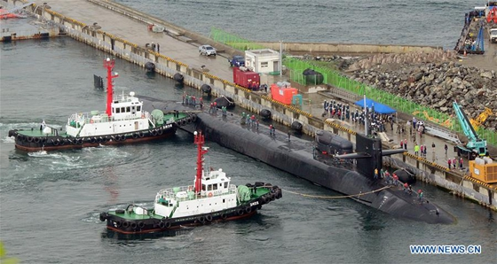 The USS Michigan nuclear-powered submarine arrives at port of Busan, South Korea, April 25, 2017. [Photo/Xinhua]