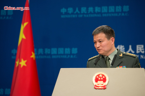 Senior Colonel Yang Yujun, spokesperson for China's Ministry of National Defense (MOD), takes questions at a routine press briefing on April 27, 2017. [Photo by Chen Boyuan / China.org.cn]