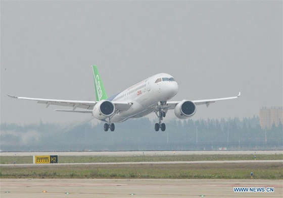 China's homegrown large passenger plane C919 takes off on its maiden flight in Shanghai, east China, May 5, 2017. [Photo/Xinhua]