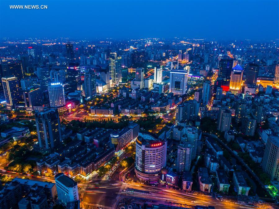 CHINA-HANGZHOU-AERIAL VIEWS-NIGHT (CN)