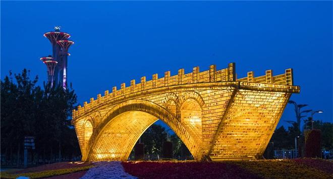 'Golden Bridge on Silk Road' structure constructed in Beijing