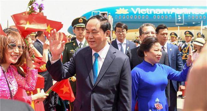 Vietnamese president arrives in Beijing