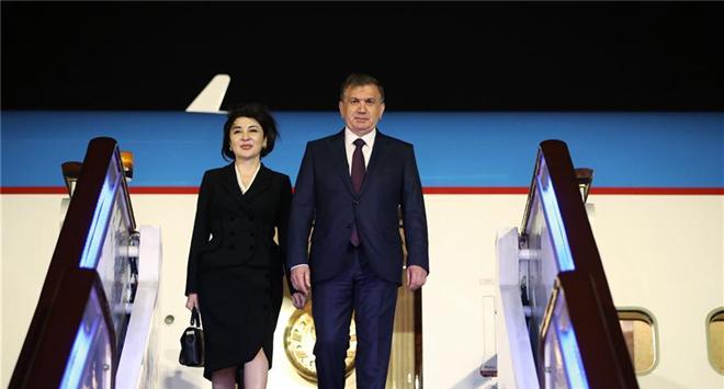 Uzbek President Shavkat Mirziyoyev arrives in Beijing
