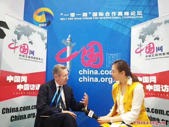 John Chipman, the director-general and chief-executive of the International Institute of Strategic Studies (IISS), speaks to China.org.cn on May 14, 2017. [Photo/China.org.cn]