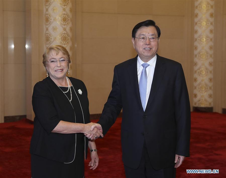 CHINA-CHILE-ZHANG DEJIANG-BACHELET-MEETING (CN)