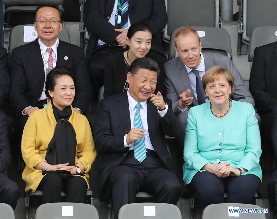 GERMANY-CHINA-XI JINPING-MERKEL-YOUTH FOOTBALL MATCH