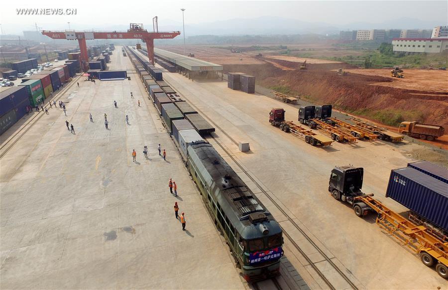 Cargo train services launched between China's Ganzhou, Kazakhstan