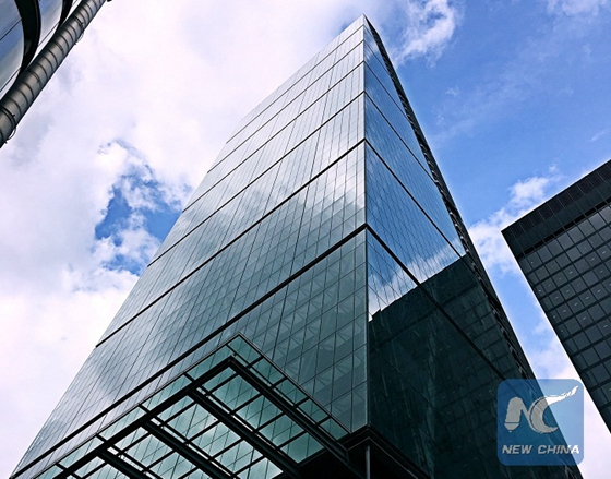 Photo taken on May 2, 2017 shows the Leadenhall Building, the tallest building in the city of London, which is known as the Cheesegrater because of its wedge shape. [Photo/Xinhua]