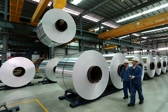 Two workers walk past a production line of an aluminum plant in Suixi county, Anhui Province. [Photo/China Daily]