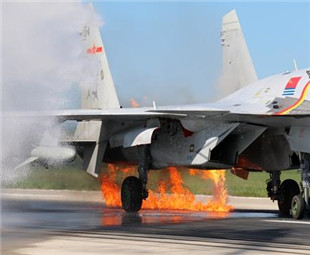 Fighter lands safely after catching fire