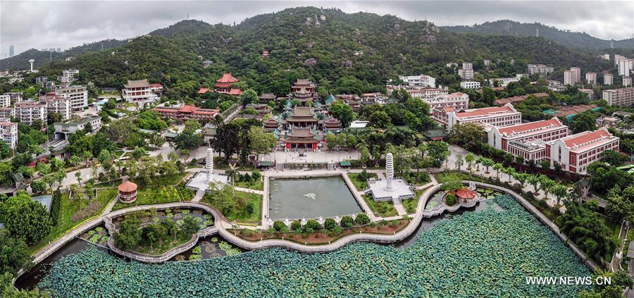Aerial panoramic photo combined on Aug. 24, 2017 shows a part of Xiamen, a coastal city in southeast China's Fujian Province. The BRICS summit and the Dialogue of Emerging Markets and Developing Countries are to be held here from Sept. 3 to 5. (Xinhua/Li Xin)
