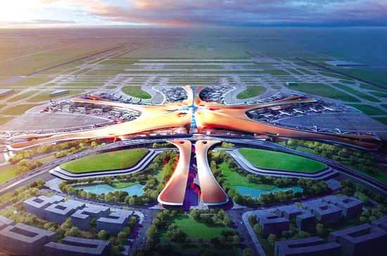 An artist's impression of what Beijing's new airport will look like. [File Photo: 163.com]