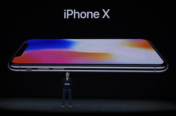 Apple's Chief Executive Officer (CEO) Tim Cook introduces new iPhone X during a special event in Cupertino, California, the United States on Sept. 12, 2017. Apple Inc. released a series of new products and services in Cupertino on Tuesday. [Photo/Xinhua]