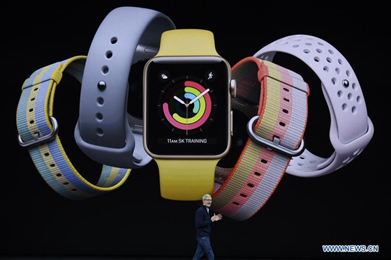 Apple's Chief Executive Officer (CEO) Tim Cook introduces new Apple Watch products during a special event in Cupertino, California, the United States on Sept. 12, 2017. Apple Inc. released a series of new products and services in Cupertino on Tuesday. [Photo/Xinhua]