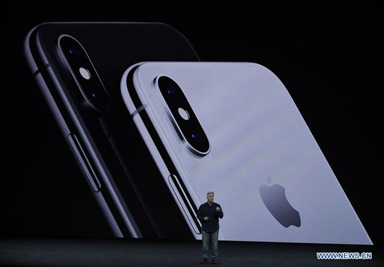 Phil Schiller, Apple's Senior Vice President of Worldwide Marketing, introduces new iPhone X during a special event in Cupertino, California, the United States on Sept. 12, 2017. Apple Inc. released a series of new products and services in Cupertino on Tuesday. [Photo/Xinhua]