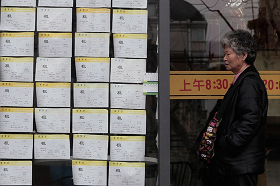 A citizen checks house leasing information on Xiangyang Road, Shanghai.[Photo/China Daily]