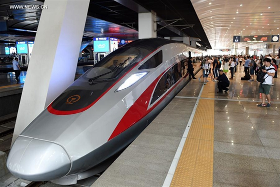 Photo taken on June 26, 2017 shows the China's new bullet train 'Fuxing' at Beijing South Railway Station in Beijing, capital of China. [Photo/Xinhua]