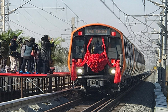 A subway train manufactured for Boston Subway's new Orange Line is seen on Monday in Changchun, Jilin province. [Photo/China Daily]