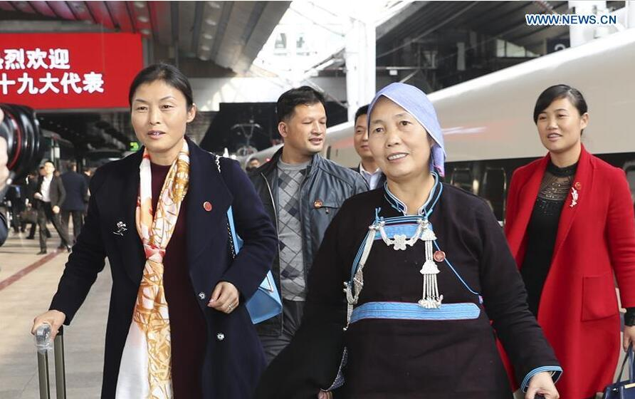 Delegates of Hunan Province to the 19th National Congress of the Communist Party of China (CPC) arrive in Beijing, capital of China, Oct. 16, 2017. The congress will start on Oct. 18 in Beijing. (Xinhua/Ding Haitao)