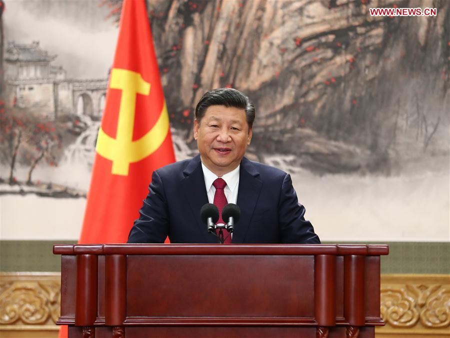 Xi Jinping, general secretary of the Central Committee of the Communist Party of China (CPC), speaks when meeting the press at the Great Hall of the People in Beijing, capital of China, Oct. 25, 2017. Xi Jinping and the other newly-elected members of the Standing Committee of the Political Bureau of the 19th CPC Central Committee Li Keqiang, Li Zhanshu, Wang Yang, Wang Huning, Zhao Leji and Han Zheng met the press on Wednesday. (Xinhua/Xie Huanchi)
