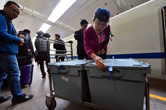 A train conductor checks cargo boxes that are being transported by bullet train in Jinan, Shandong province, during last November's Singles Day shopping spree. [Photo/Xinhua]