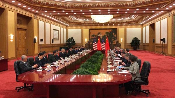 Chinese President Xi Jinping and his U.S. counterpart Donald Trump hold an expanded bilateral meeting in Beijing, Nov. 9, 2017. [Photo/CGTN]