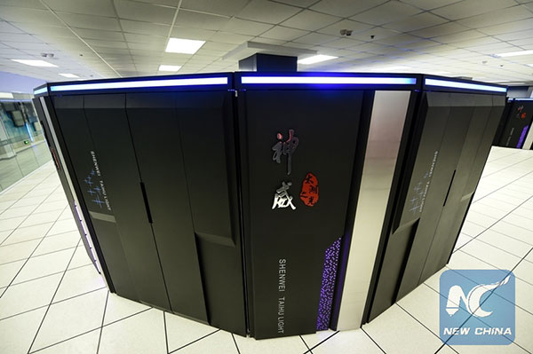 Photo taken on June 20, 2016 shows Sunway TaihuLight, a new Chinese supercomputer, in Wuxi, east China's Jiangsu Province. [Photo/Xinhua]