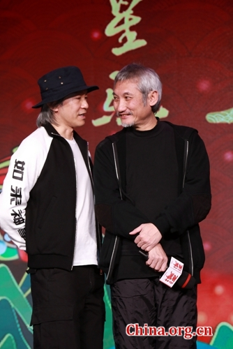 Stephen Chow and Tsui Hark promote their collaboration 'Journey to the West: The Demons Strike Back' in Beijing, Jan. 16, 2017. [Photo/China.org.cn]