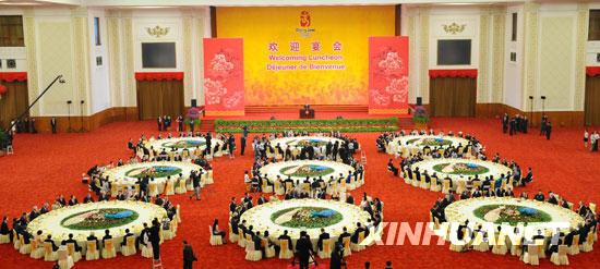 8月8日,中国国家主席胡锦涛和夫人刘永清为出席北京奥运会的贵宾举行欢迎宴会。