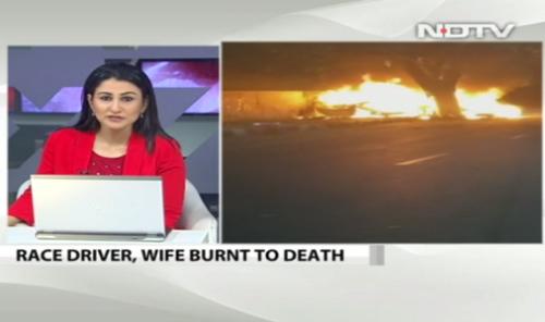 印度知名赛车手凌晨载妻开车撞树 车起火两人亡