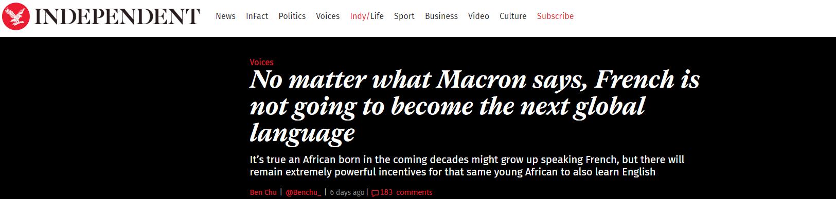马克龙说法语将成世界第一语言 英国网民坐不住了