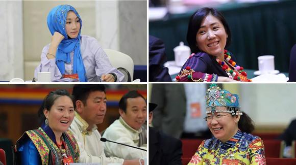 14 Frauen, die ihre Minderheit im Volkskongress vertreten