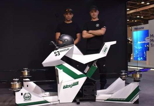 Novedosa moto voladora al servicio de la policía de Dubái