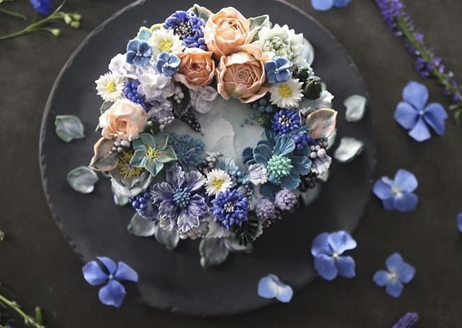 Hermosas tartas florales de crema de mantequilla