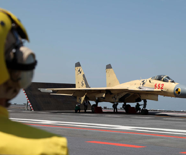 Jet exercises from aircraft carrier.[Photo/navy.81.cn]