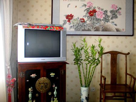 大漆描金镶嵌玉石的电视柜,价值1400元