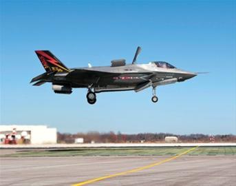 美军新一代主力机型 F―35B完成垂直降落