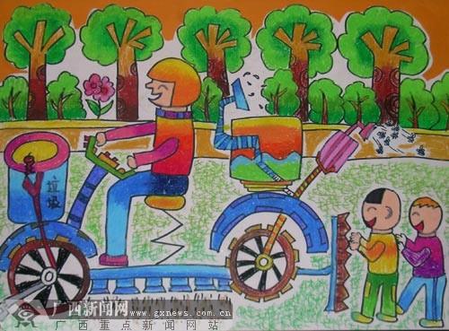 大赛一等奖作品:多功能清洁车(作者:于沁可 江苏 参赛组别:少年