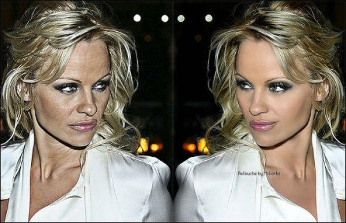 布兰妮安吉丽娜艾薇铆 明星照片PS前后对比