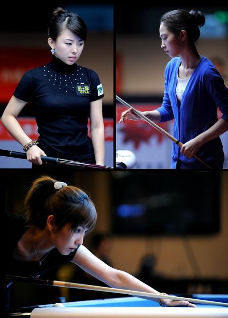 女子九球世锦赛上的东方美女