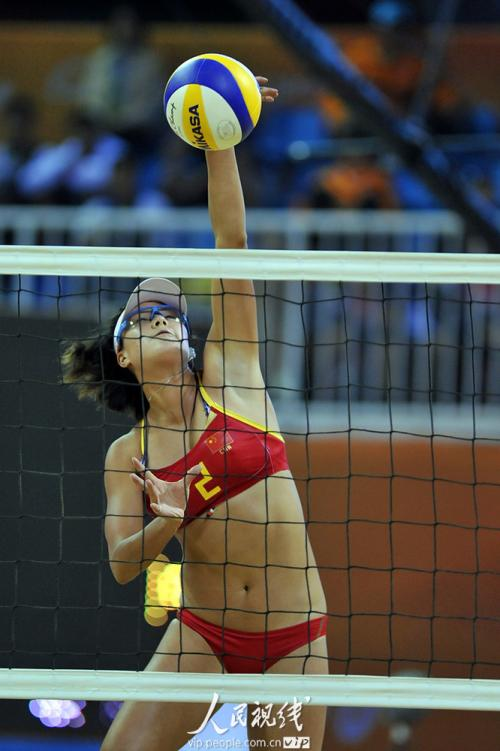亚运会沙滩排球 中国队胜韩国队