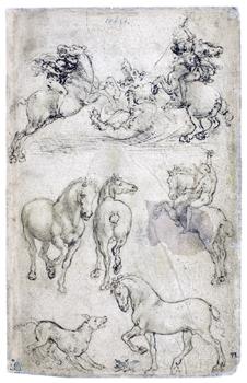列奥纳多-达-芬奇 正面:素描习作,二骑士斗龙,骑士与马,狗与马