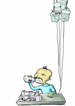 儿童吃药喝水 漫画图