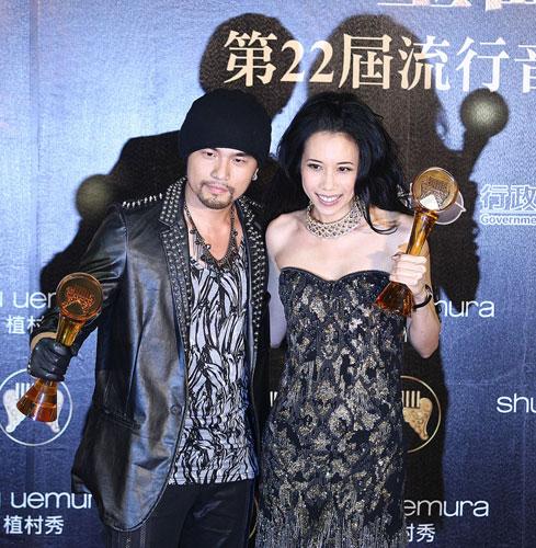 22届流行音乐金曲奖颁奖典礼18日在台北小巨蛋举行,艺人周杰伦(