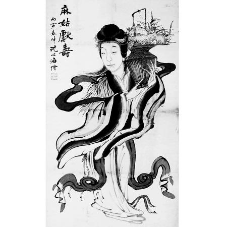 不过,陈月溪画中的麻姑,没有我小时候看到的年画中的麻姑那么喜气