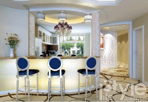 形的吧台设计成水滴形,吊顶和吧台相呼应,也设计成了弧形.钢琴区